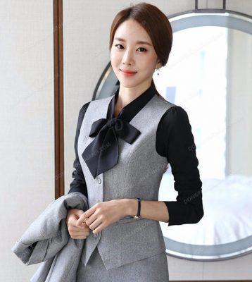 Mẫu áo gile màu xám cho nữ công sở đẹp nhất