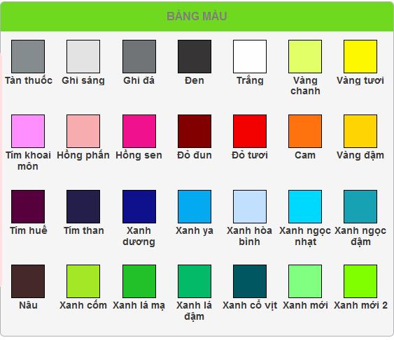 Bảng màu sắc lựa chọn may áo đồng phục