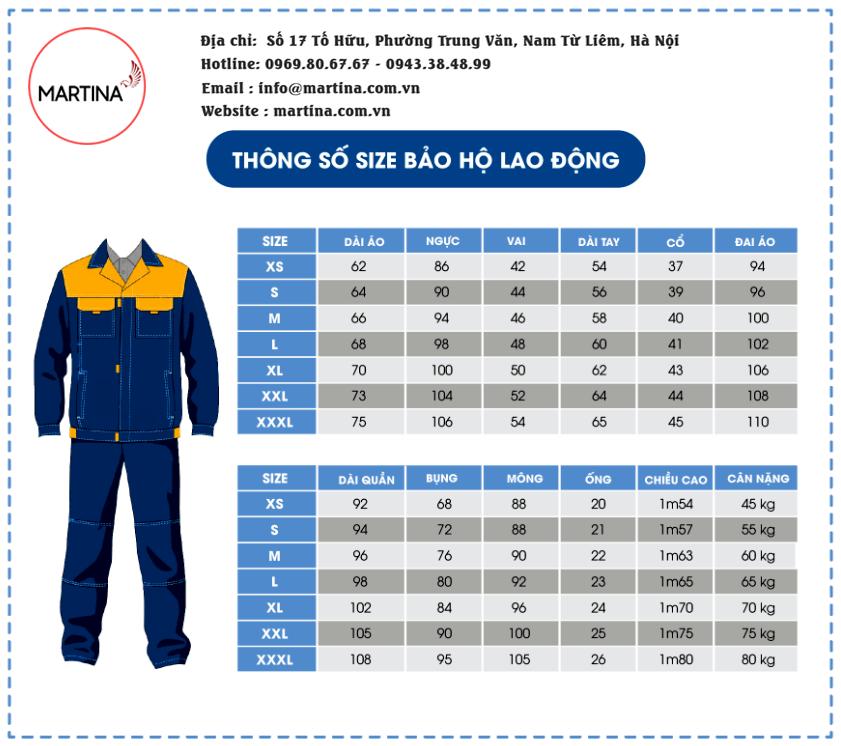 Bảng size áo đồng phục công nhân
